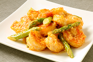 Asparagus and shrimp egg salad with special sesame sauce300x200